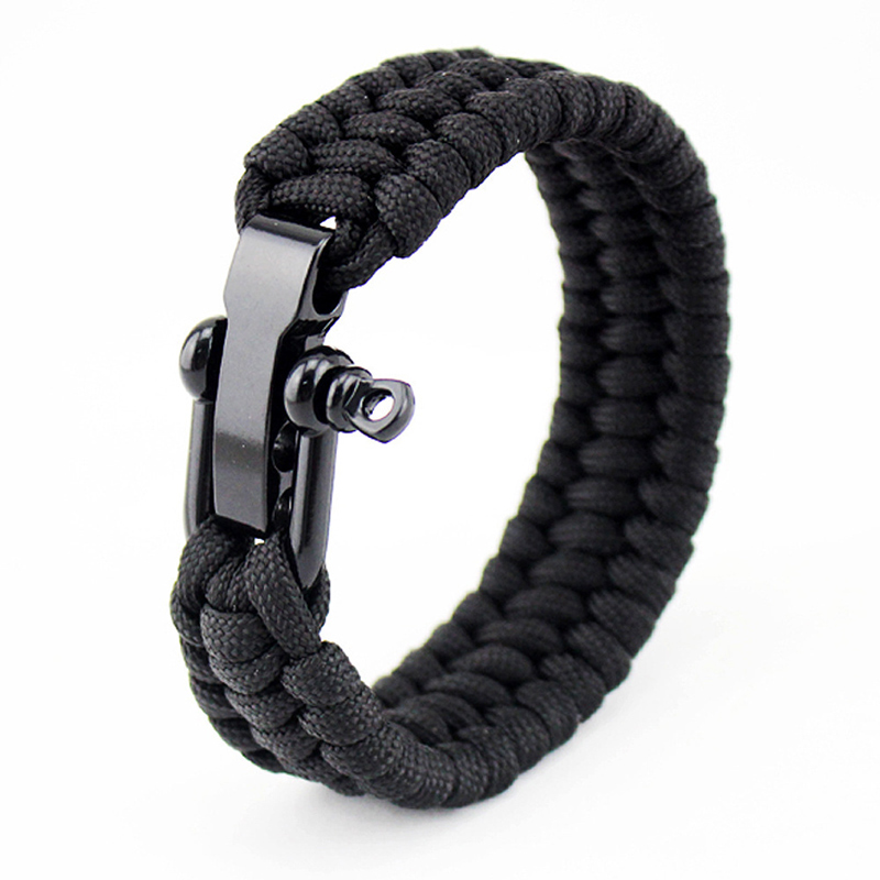 NIUYITID Mens Stainless Steel Shackles Paracord Survival Bracelet Outdoor Camping Rescue Emergency Rope Bracelet For Women