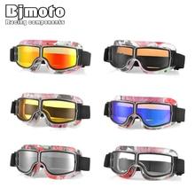 BJMOTO Universal Vintage Motorcycle Goggles Pilot Aviator Motorbike Scooter Biker Glasses Helmet Foldable For Harley