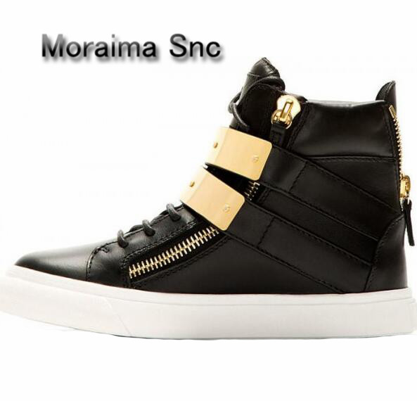 Moraima Snc Brand Design Women Sneakers Shoes Casual Black Red Shoes Gold Metal Decor Flats Shoes Women Round Toe Ankle Boots moraima snc brand sneakers female summer black pink sexy cut out zapatillas mujer casual metal round toe height increasing shoes
