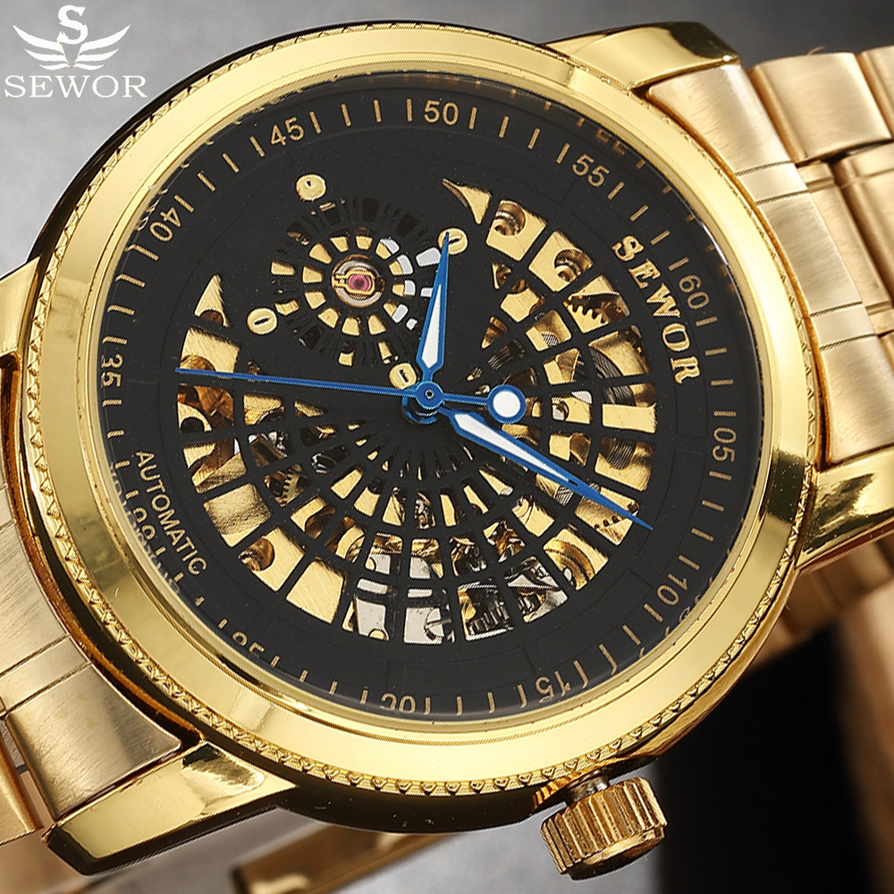 Automatic Mechanical Watch Men Relogio Masculino SEWOR Gold Stainless Steel Skeleton Watch Clock Male Montre Homme Wristwatch sewor sw031 mechanical male watch page 6
