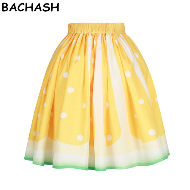 BACHASH Yellow Fruit 3D Printed Women Fashion Skirts High Waist Knee-Length Casual  Skirts 2018 New Pleated Mid Sexy Skirt eee854a78f23