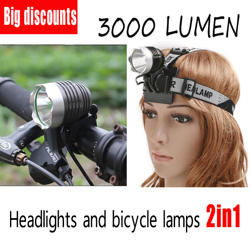 2-in-1 Waterproof Headlamp Headlight XML-T6 Outdoor sports Head Lamp Front bikelight& 4*18650 battery pack worked+Charger sitemap 19 xml page 1