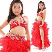 New Style Belly Dance Costume 2pcs 3pcs Bra Belt Skirt Sexy Dancing Kids Dance Clothes Child