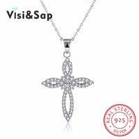 Visisap 925 Sterling Silver Jewelry Dây Chuyền Dễ Thương Nhỏ Flower Chữ Thập Vòng Cổ Cho Phụ Nữ Lãng Mạn Món Quà Cưới Độc Đáo VSVN111
