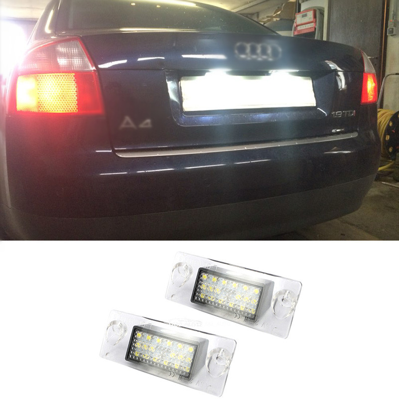 Error Free 1Pair 18 LED Number Plate Lights SMD 3528 6000K For HID License Plate Light Lamp For Audi A4 S4 B5