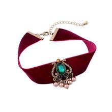 2f4ff5d4b007e 2019 Trendy Wide Rose Red Elegant Velvet Ladies Choker Necklace Crystal  Geometric Vintage Korean Style Jewelry Women Gift Party