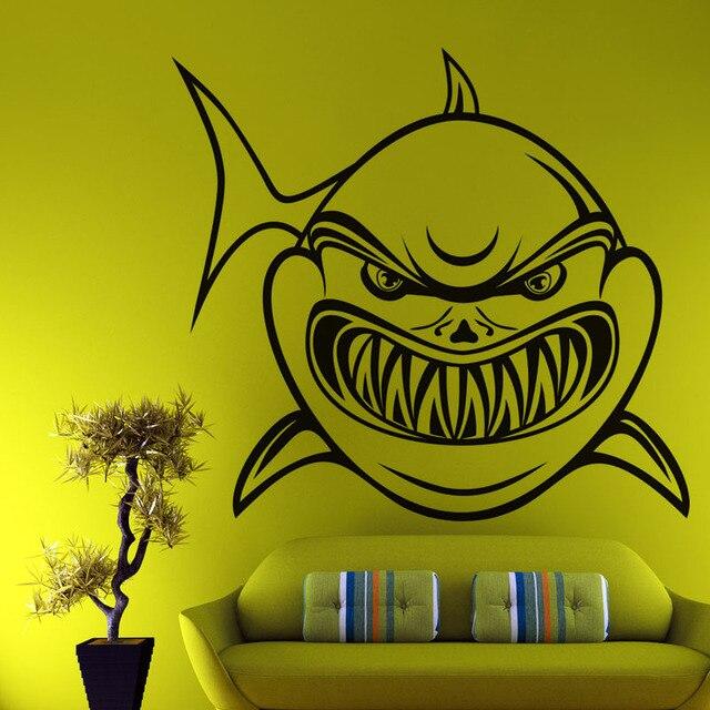 ديكور المنزل ملصقات الحائط الفينيل الكرتون القرش مميز الجوف خارج