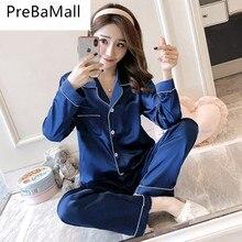 Womens Pajamas Pyjamas Set Long Sleeve Sleepwear Pijama Silk Satin Suit Female Sleep Two Piece Loungewear C169