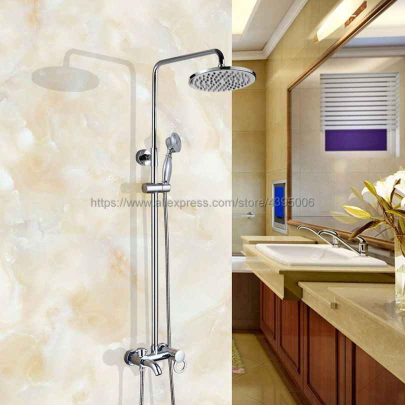 Bathroom Rainfall Shower Faucet Set Mixer Tap With Hand Sprayer Single Handle Wall Mounted chrome Bcy334 poiqihy wall mounted chrome shower faucet bathroom rainfall shower set faucet tub with handheld sprayer bathroom mixer tap