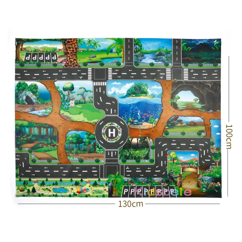 Image 5 - Children Playing Mat Floor Game Baby Crawling Mat Pad 130*100CM Waterproof Kids Dinosaur City Car Parking Lot Traffic Boy Toys-in Floor Games from Toys & Hobbies