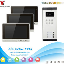 YobangSecurity Video Intercom Monitor 10-Inch Video Doorbell Camera System Intercom Entry Access System for 3 Units Apartment