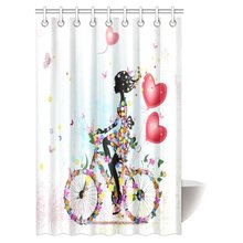 Aplysia Teen Girls Shower Curtain Flower Girl Bike With Air Valentines  Colorful Bicycle Fairy Fashion Woman