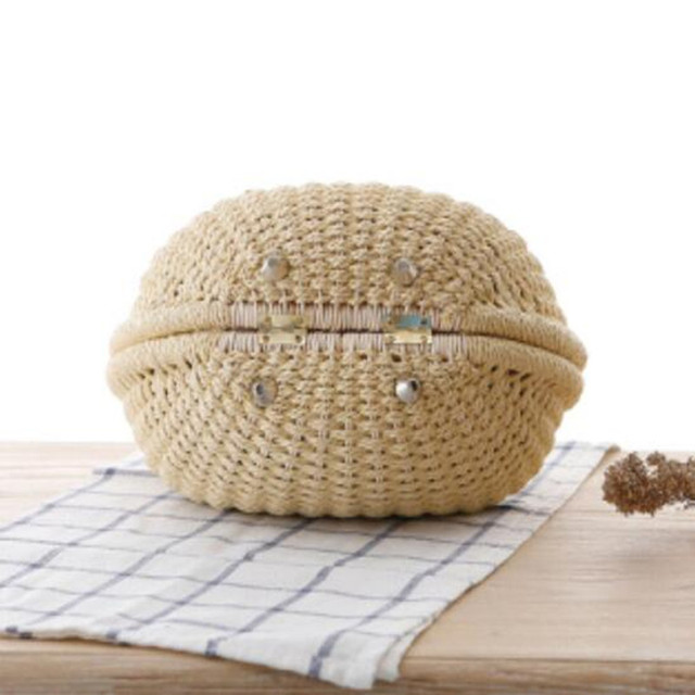 Round Handmade Rattan Mini Bag