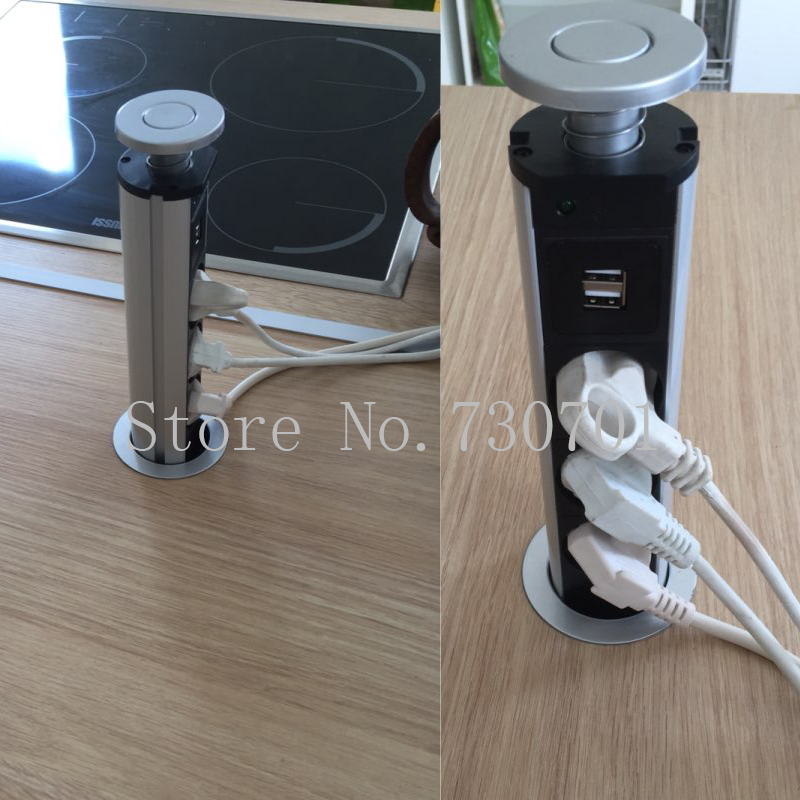 220V 16A PULL POP <font><b>UP</b></font> Electrical 3 EU power Socket 2 USB Outlet <font><b>Kitchen</b></font> Table Socket Retractable for Countertops Worktop EU Plug