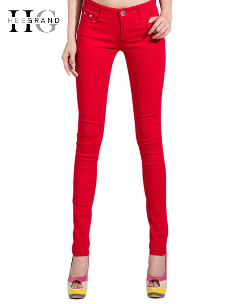 HEE GRAND Women's Candy Pants 2019 Pencil Jeans Ladies Trousers Mid Waist Full Length Zipper Stretch Skinny Women Pant WKP004(China)