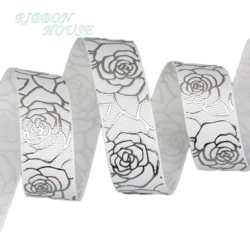 (Мм 10 ярдов/партия) 22 мм цветок белый горячего тиснения цветок grosgrain лента подарок свадебные ленты рулон