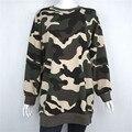 2016 Армия Зеленый Камуфляж Длинный Толстовка Женщины Свободные Плюс Размер Повседневная Мода Пуловер Felpe Донна Tumblr Кофты nwy432