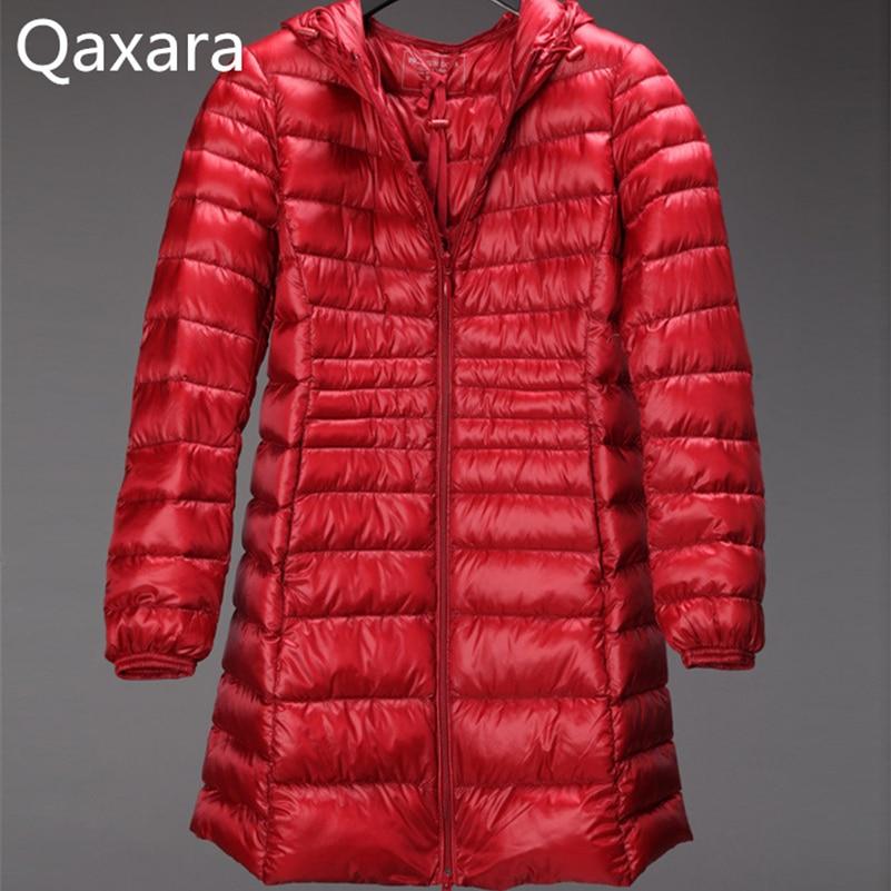 QAXARA Women overcoat Soft-fabric 90% white duck down jacket Plus Size 4xl 5xl 6xl Thin Hooded long parka coat light outerwear