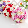 2016 Beautiful Handmade Flowers Decorative Artificial Rose Flowers Pearls Bride Bridal Lace Accents Wedding Bouquets with Ribbon