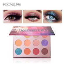 FOCALLURE New Arrived Explosive Eye Shadow 12 Color Makeup Marble Plate No Fly Powder Matte Pearl