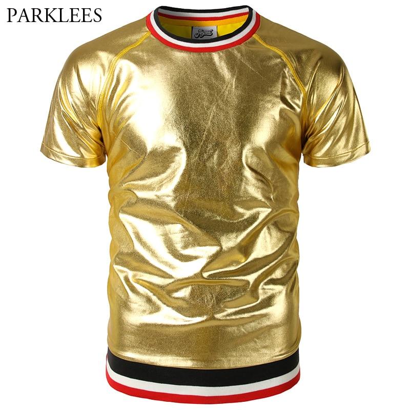 Striped Raglan Sleeve   T     Shirt   Men Shiny Gold Metallic Mens   T  -  shirts   Slim Fit Nightclub Party Tee   Shirt   Homme Hip Hop Top Tees