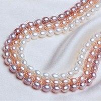 Perla Gioielli di alta qualità AAAA Naturale Perla D'acqua Dolce 6-7mm Riso 925 sterling silver Collana Del Choker Gioielli Per donne