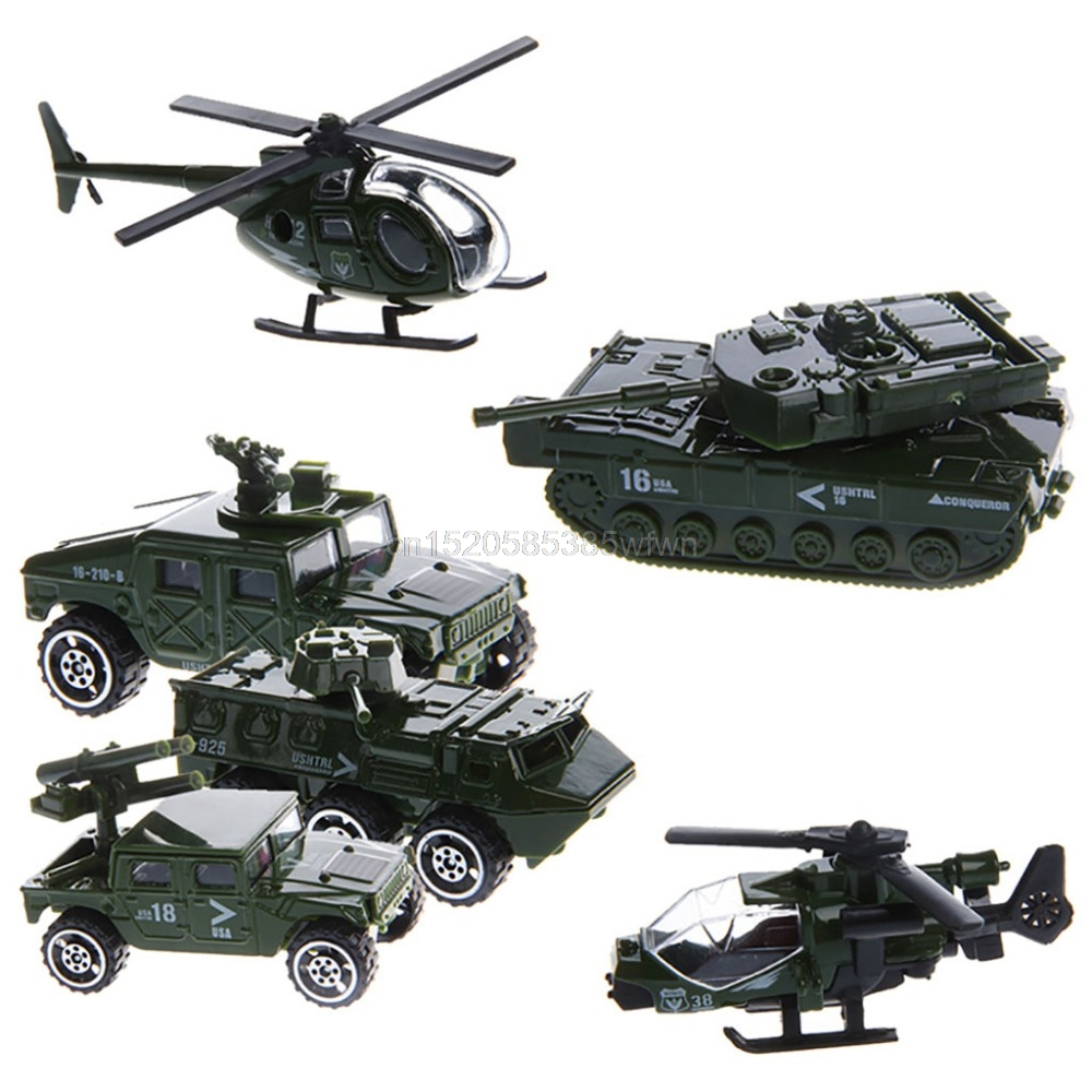 6Pcs 1:87 Scale Car Military Military Engineering Aircraft Vehicle Kid Toy Model #HC6U# Drop shipping