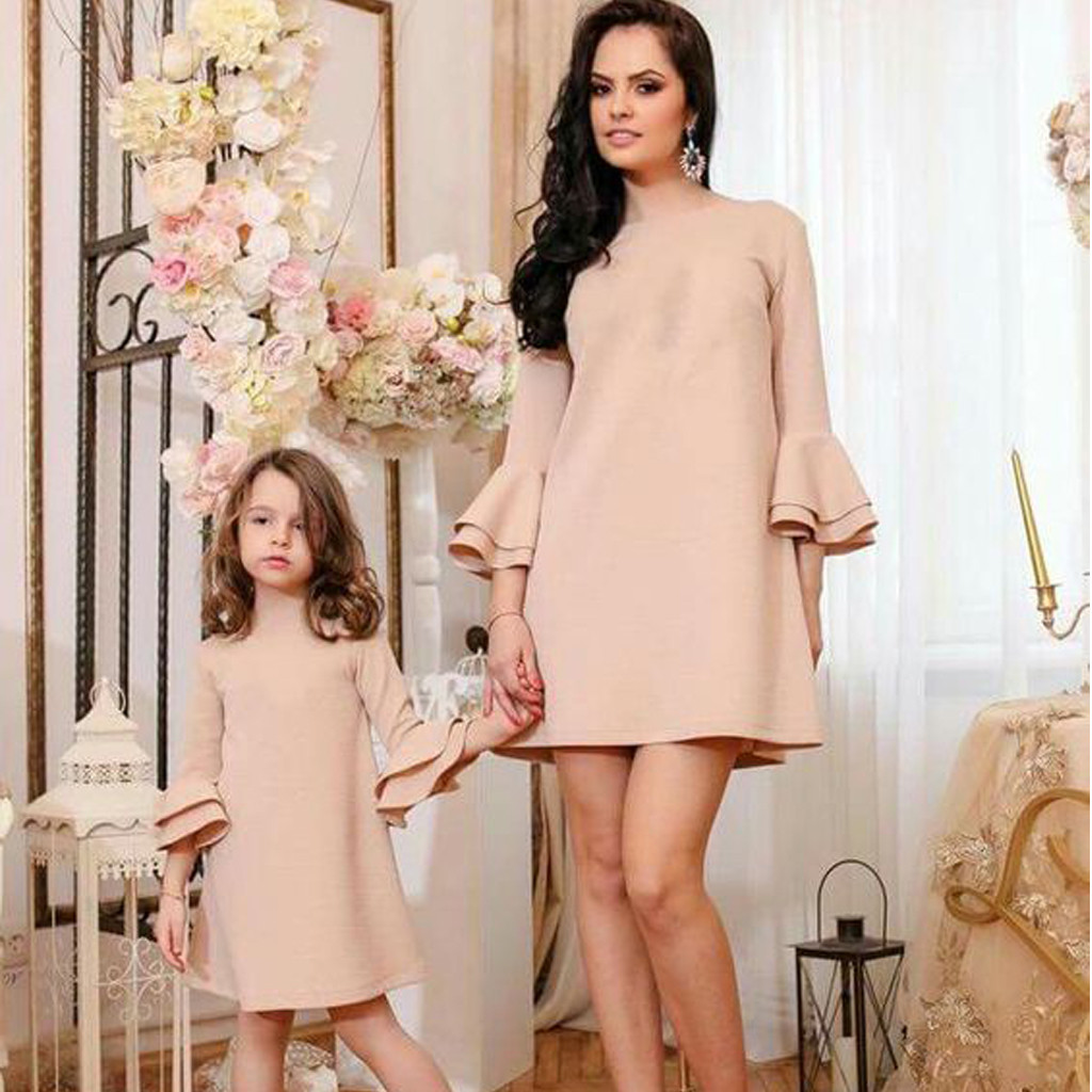 Family Matching Mommy Dress Outfits Daughter Fashion And Me Flare-Sleeve