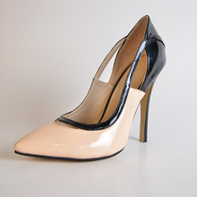 2015 Summer Style Elegant Patent Leather Color Matching Women's Pump Heels zapatos mujer Cover High Thin Heels Pumps