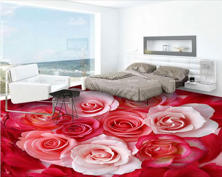 Custom Photo 3d Flooring Mural Self Adhesion Picture Wall Sticker The Red White Rose Petals Painting Room Murals Wallpaper In Wallpapers From Home