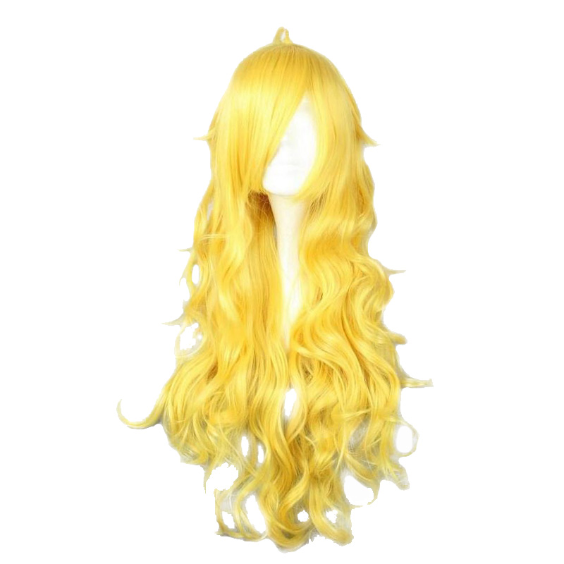 MCOSER Free Shipping 80CM Long Wavy Synthetic Yellow Color Cosplay Wig 100% High Temperature Fiber Hair WIG-011D