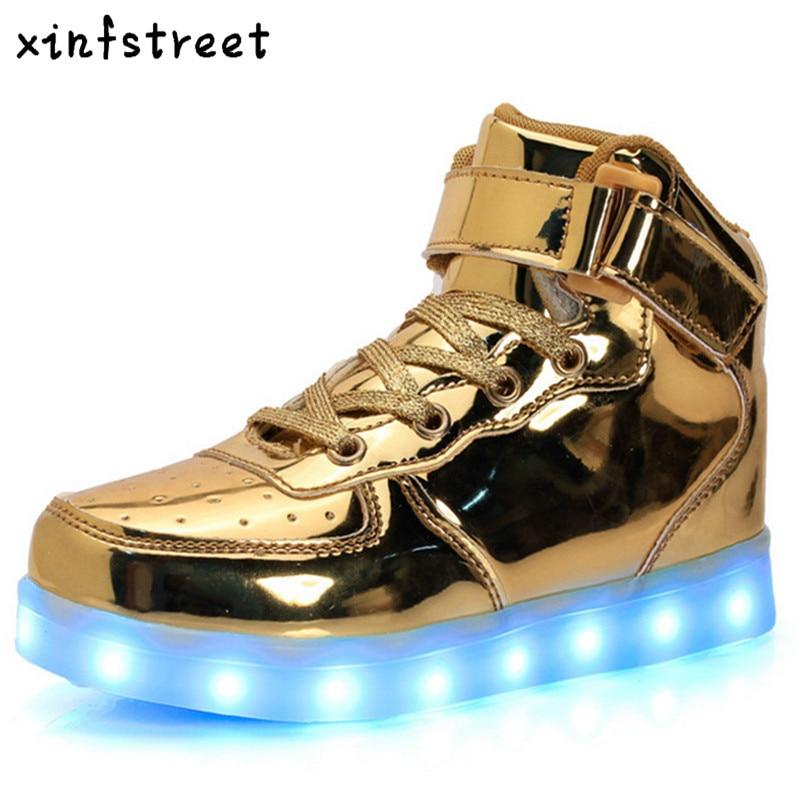 საბავშვო Sneakers ბიჭები გოგონები ბავშვები USB დატენვის Luminous Sneaker LED განათება ფეხსაცმელი მაღალი toe ბავშვთა მსუბუქი ფეხსაცმელი ზომა 25-37