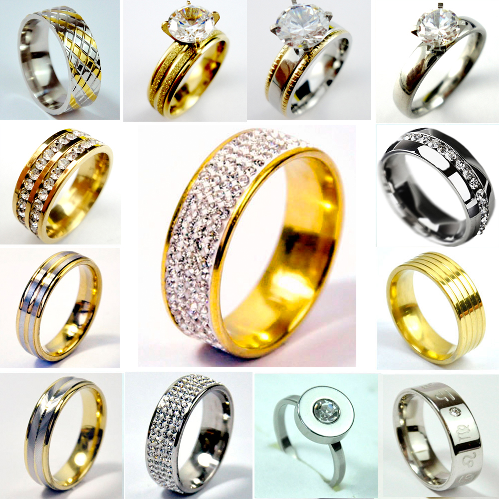 10pcs Lot Stainless Steel 1 Rows Full Clear Rhinestone Gold Ring Wedding Jewelry
