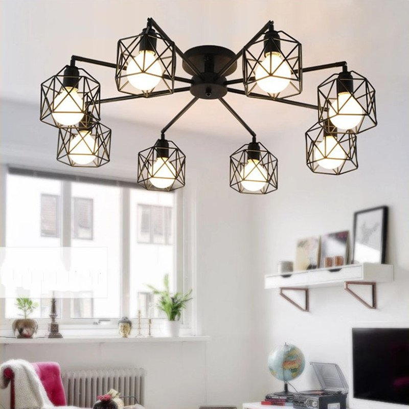 3/5/8 Heads Nordic Led Dining Room Ceiling Light  Creative Art Cage Aisle Balcony Ceiling Light With E27 Led Bulbs Free Shipping3/5/8 Heads Nordic Led Dining Room Ceiling Light  Creative Art Cage Aisle Balcony Ceiling Light With E27 Led Bulbs Free Shipping