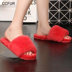 Image 2 - Womens Real Wool Fur Slippers Warm Slides Sheepskin Sliders Fur Slippers Home Indoor Winter Shoes S6038