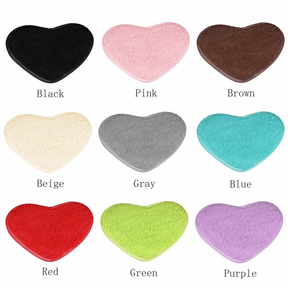 1pc 40*28cm Professional Design Heart-shaped Non-slip Bath Mats Kitchen Bathroom Coral Fleece Home Decor Enfeites Para Casa#30