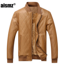 Aismz Mens PU Leather Jacket High Quality Wool Liner Warm Winter Motorcycle Business Casual Male Leather Jackets Coats J009
