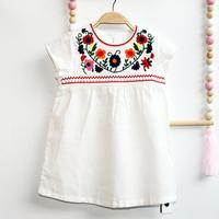 New Arrival Flower Embroidery Girls Dress Cotton And Linen High Quality Children S Clothing Casual Summer