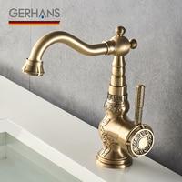 GERHANS Adoking Bathroom Basin Sink Faucet Brass Vintage Retro Lavatory Water Mixer Luxury Antique Water Tap Gold Crane K11018