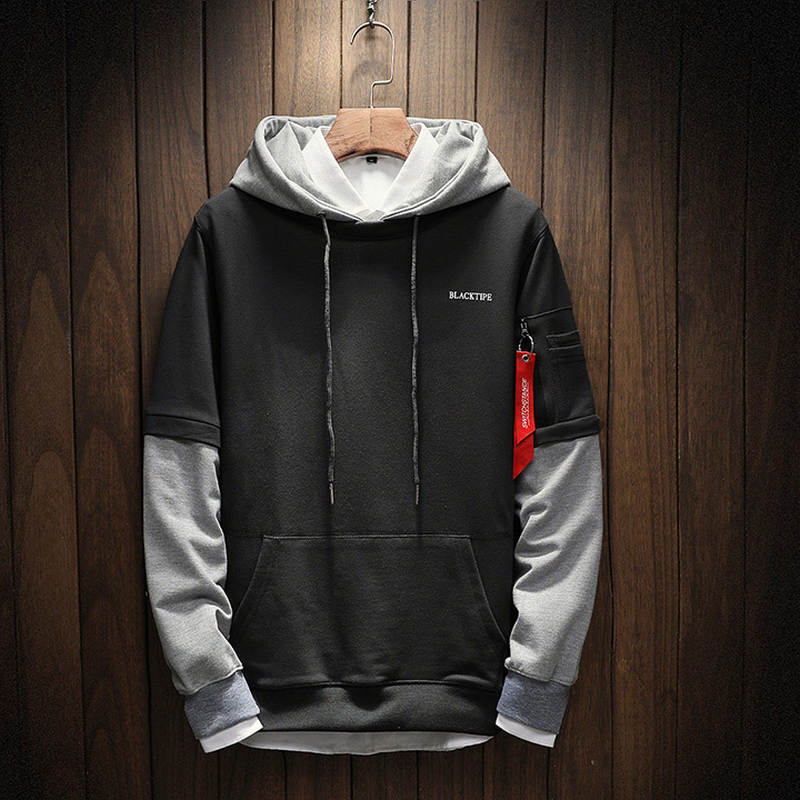 Pullover Hoodies Cool Sweatshirt Long-Sleeve Patchwork Hip-Hop High-Quality M-5xl Men