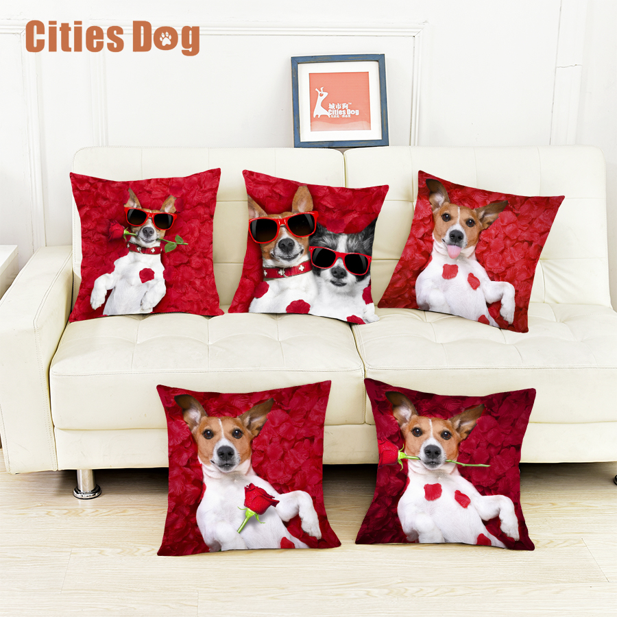 New Year Decoration Gift Pillows Cushion Cover Red Roses Animal Jack Russell Terrier Dog Pillowcase Cushions Christmas Decoratio