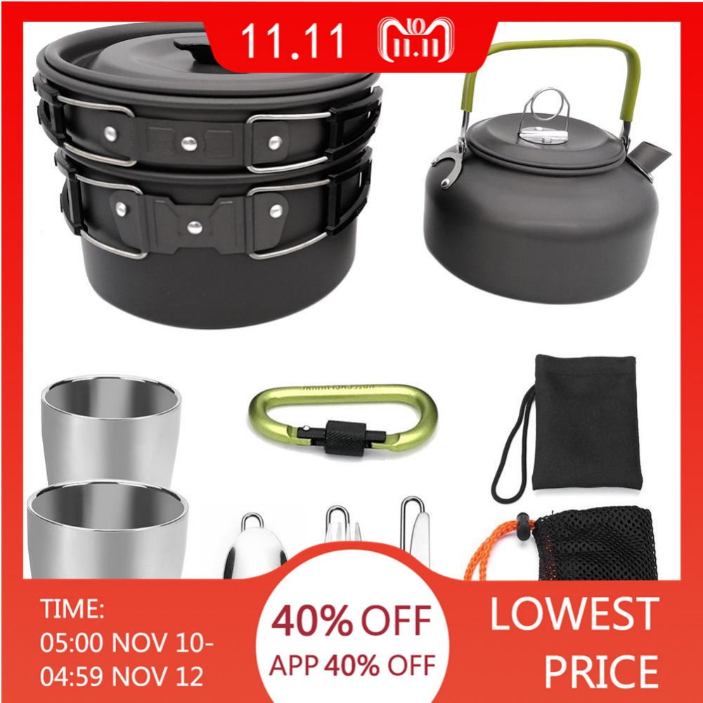 Outdoor Camping Hiking Picnic Teapot Pot Set Portable Cookware Mess Kit Carabiner Camping Cookware Stove With Tea Cup Coffee Cup цены онлайн