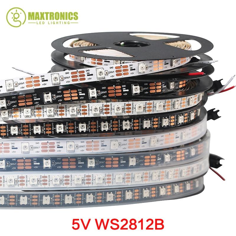 WS2811 IC 30Leds // m R/êve Couleur individuellement adressable Ruban /Éclairage 5M 150 Pixel WS2812B RVB a men/é la bande de lumi/ères 5050 SMD DC 5V Non-imperm/éable /à leau PCB noir