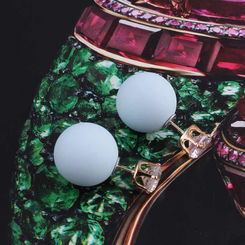 Nova Cor Brilhante de Cristal Brincos Grandes Brincos de Pérola Do Parafuso Prisioneiro Brincos De Acrílico de Luxo Borracha Bola Beads Brincos Para As Mulheres