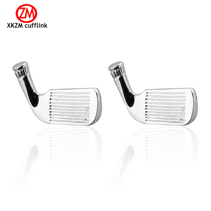 Luxury Men silver <font><b>golf</b></font> <font><b>Cufflinks</b></font> High Quality Brand Groom Wedding <font><b>Cufflinks</b></font> For Mens Shirt Cuff Links Gemelos Para Camisas image