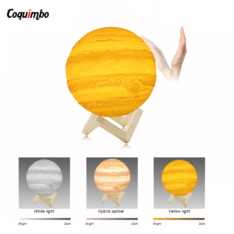 3D Light Print Jupiter Lamp Earth Lamp Colorful Moon Lamp Rechargeable Change Touch Usb Led Night Light Children's Nightlight magnetic floating levitation 3d print moon lamp led night light 2 color auto change moon light home decor creative birthday gift