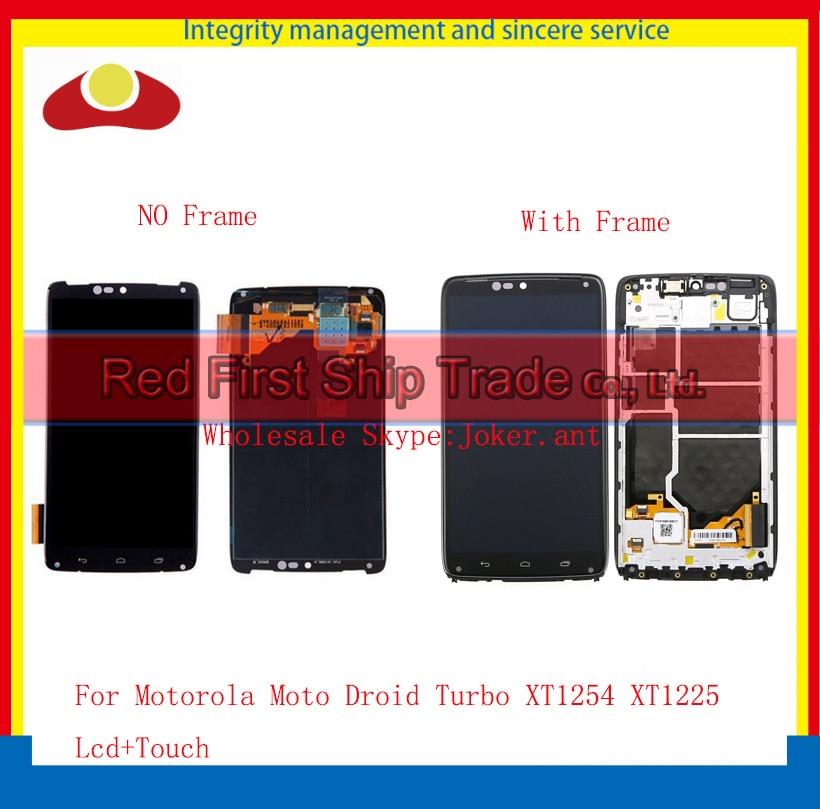 10Pcs/lot DHL EMS 5.2 For Motorola Moto Droid Turbo XT1254 XT1225 Full Lcd Display Touch Screen Digitizer Sensor Assembly+Frame 2016 sale rushed 10pcs free dhl ems for motorola moto xt1254 touch digitizer lcd display 100