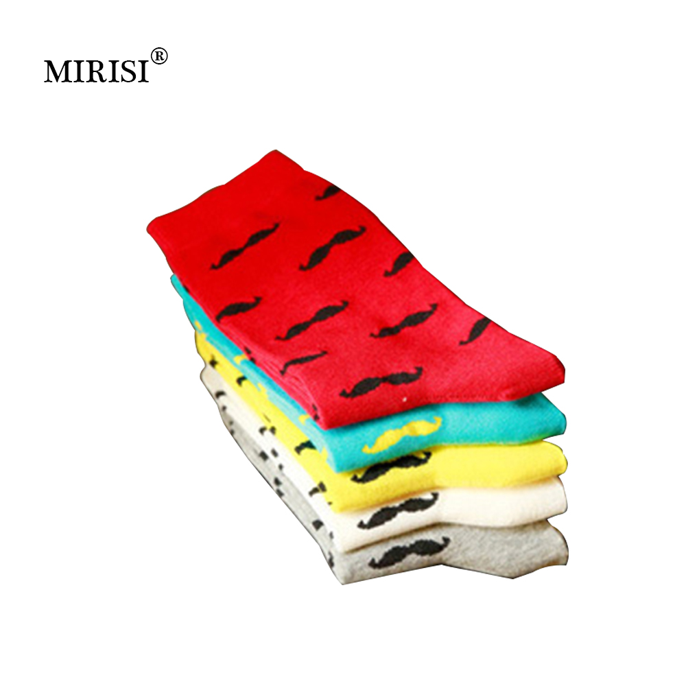 MIRISI Men Socks Casual Pure Cotton Beard Pattern Tube Socks Men Fashion Solid Color Funny Happy Socks 2018 Hot Sale 10 Pairs