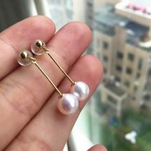 wedding Women Gift word 925 Sterling silver real Akoya natural seawater pearl earrings round flawless 7-7.5 mm