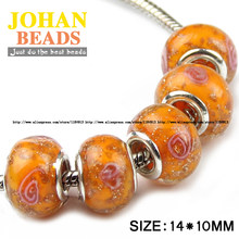 JHNBY Europäischen Perlen Orange 5mm Großes Loch Glas Perle 10 stücke Mode Runde Lose perlen fit Braclets Schmuck zubehör, die DIY